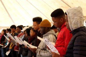 Takoma Academy Chorale reading SA National Anthem